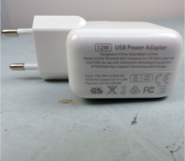 iPad oplader 12W / USB Power Adapter 12W, A5224
